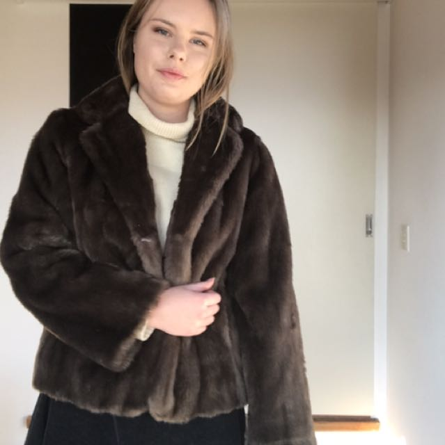 Brown Faux Fur Vintage Jacket
