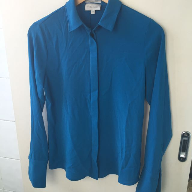 Calvin Klein Blue Silk Button Up Shirt Blouse