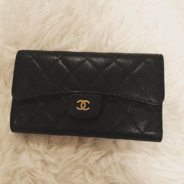 Chanel Flap Wallet Gold In Caviar