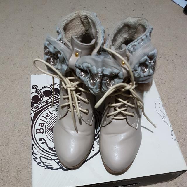 Cute Beige Heel Boots Size 38