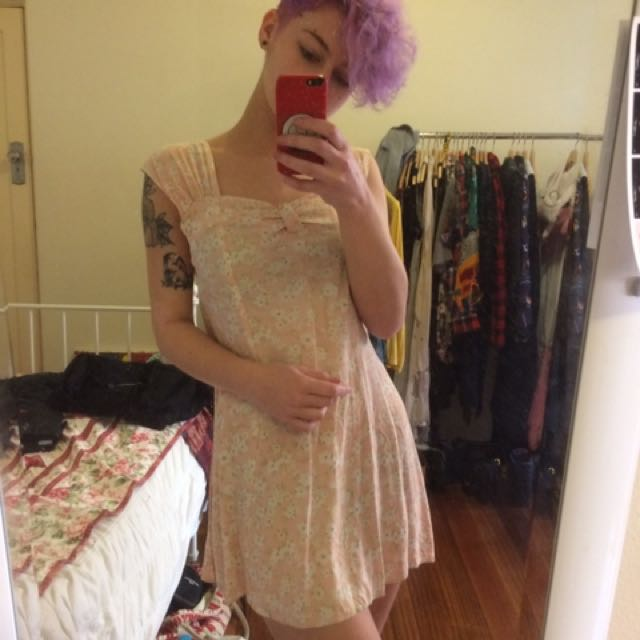 Cute Pink Floral Dress