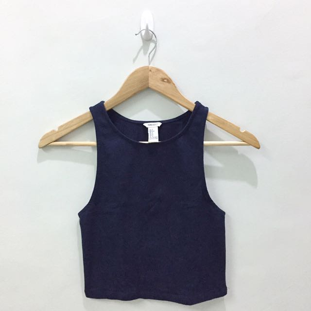 F21 Navy Blue Racerback Cropped Top