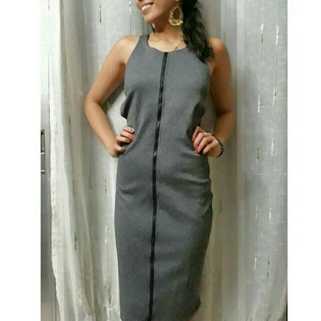 Grey Front Zipper Bodycon Midi Dress