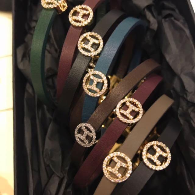韓國H水鑽皮革手環