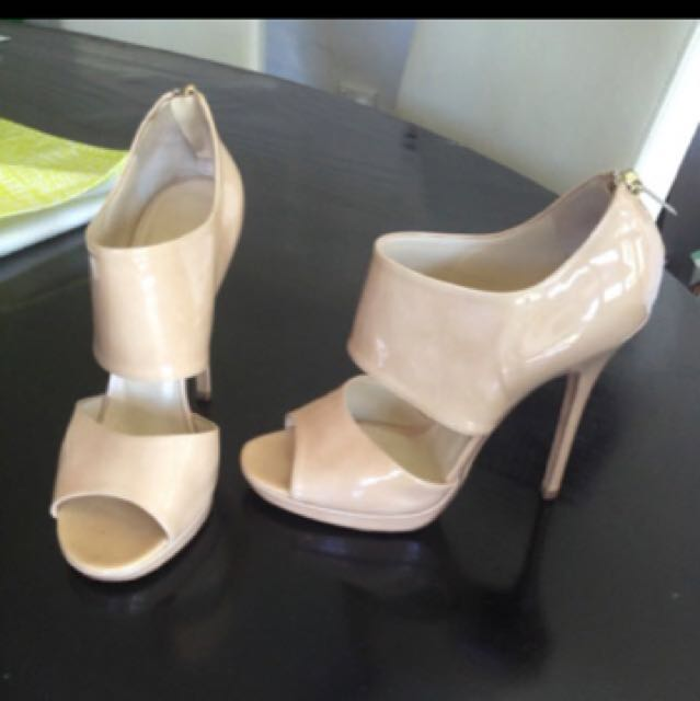 Jimmy Choo Patent Nude Strappy Heels 38