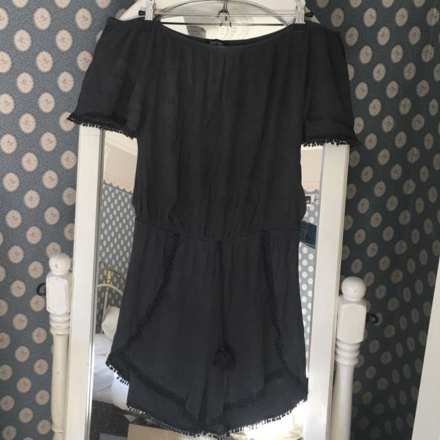 Jumpsuit / Play suit Off The Shoulder Boohoo Charcoal Black