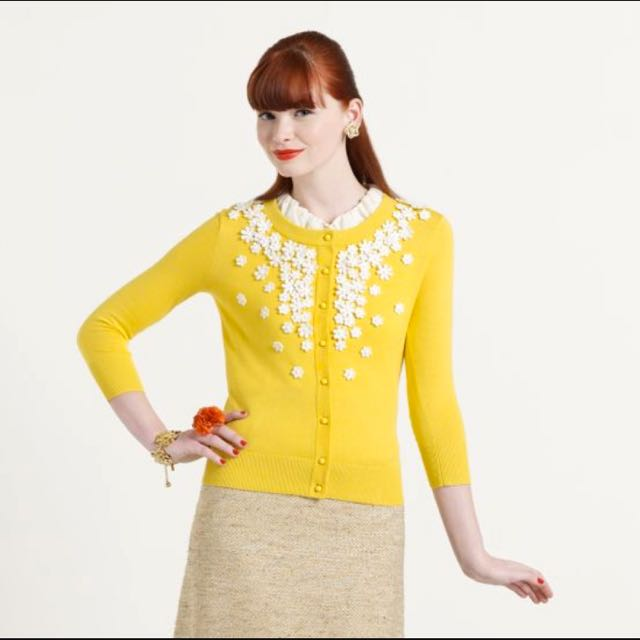 Kate Spade New York Yellow Cardigan L