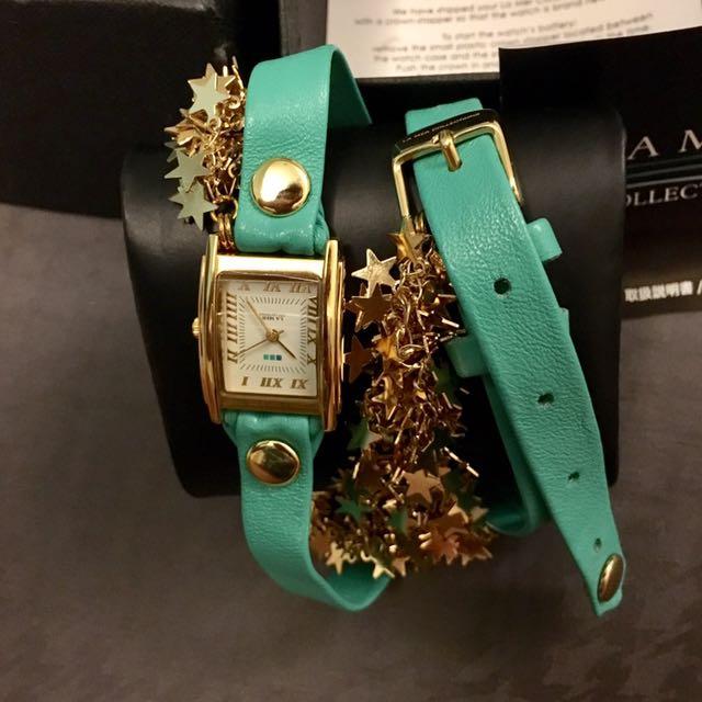 La Mer Collections湖水綠+金色星星飾品錶