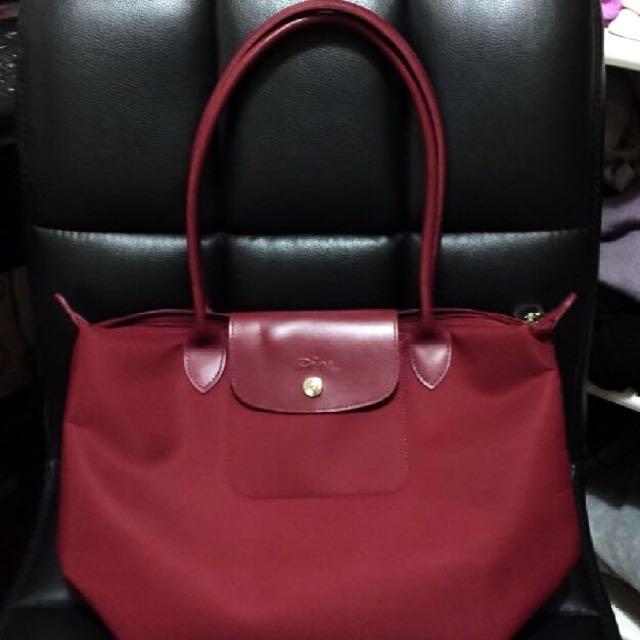 LONGCHAMP- 加厚版長柄包包♥️酒紅色