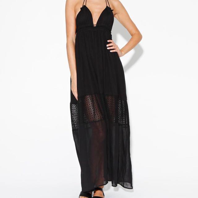 Neon Hart Black Mesh Panel Maxi Dress