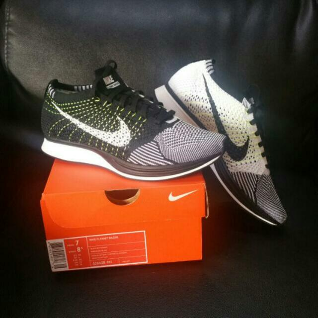 5cb04fdba84e Brand New Nike Flyknit Racer 2.0 Oreo Black And White - Volt Flywire ...
