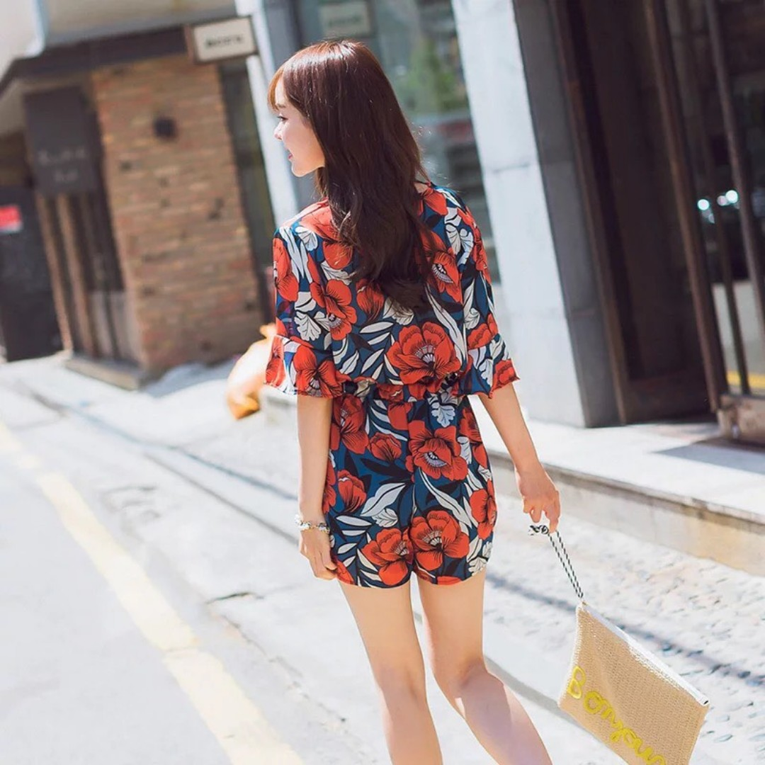 cc6a79f6712a Orange Blue Flutter-Sleeve Floral Romper