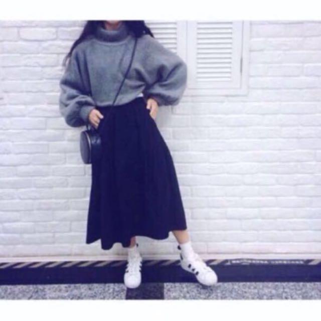 💖(免運)Per.黑色厚磅棉麻長裙
