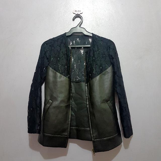 Preloved Black Lace And Leather Jacket