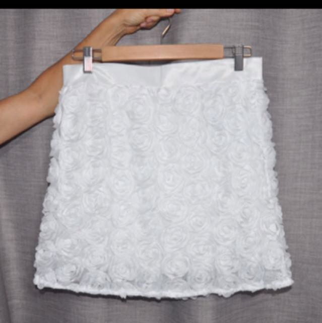 Pure Hype White Floral Miniskirt