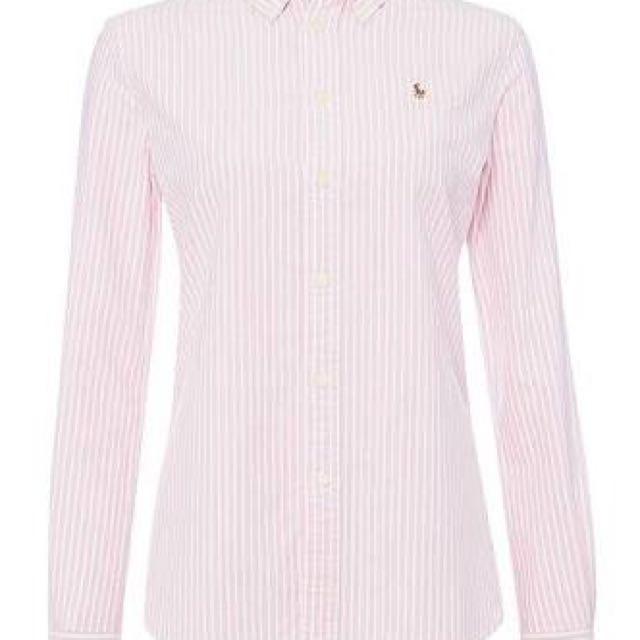 Ralph Lauren Striped Oxford Shirt In Pink