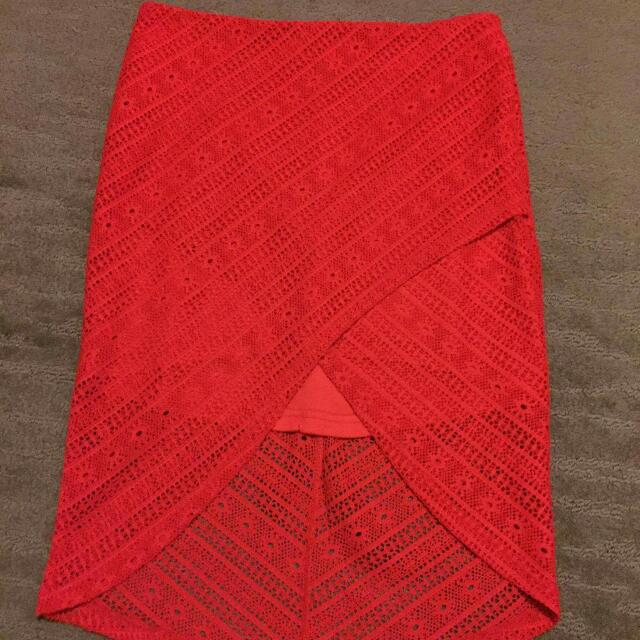 Red Lace Skirt