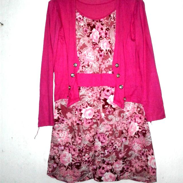 Semi Dress Pink Motif Bunga