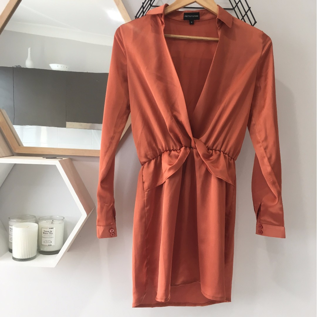 Silky Orange Shirt Dress