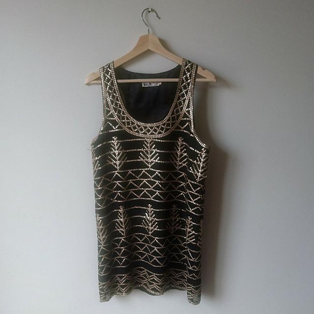 Size 8 | Black and Gold Dress
