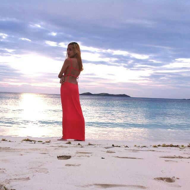 SM Woman Red Orange Long Summer Dress