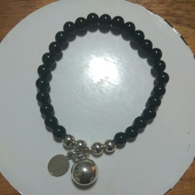 Sue Sensi Sterling Silver And Black Bracelet