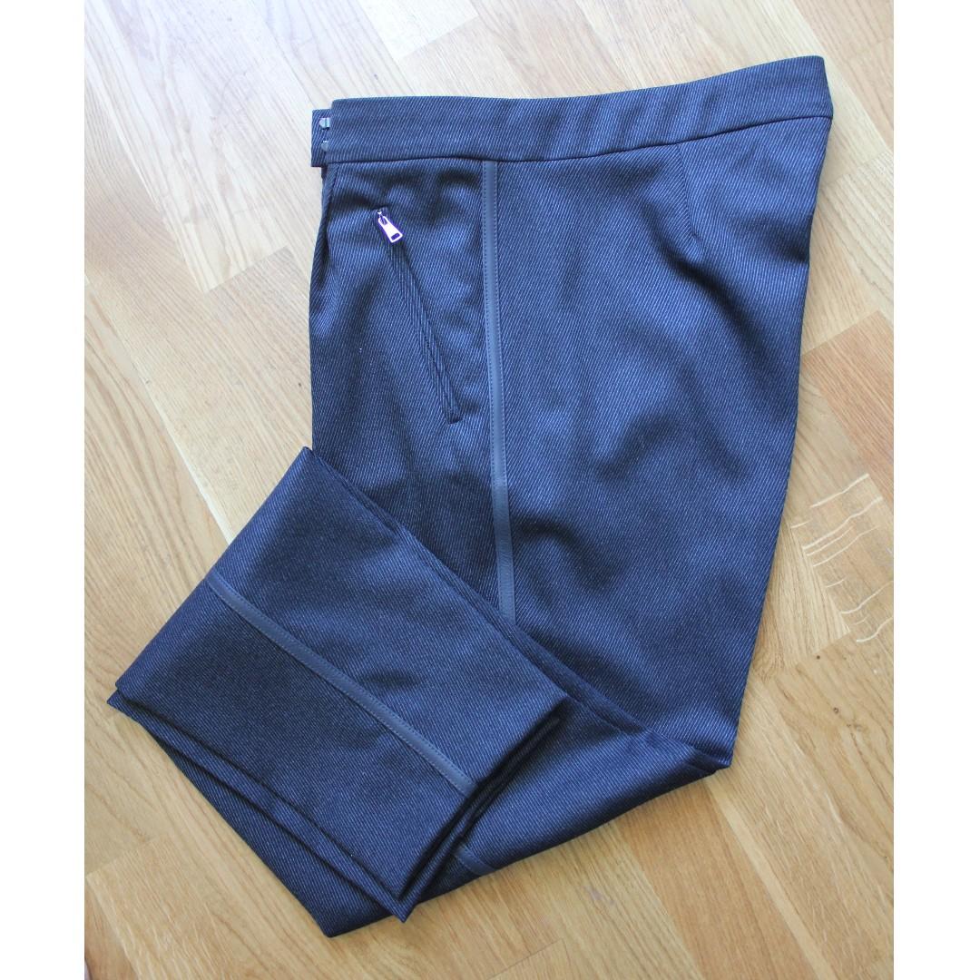 Sz 10 - Max Mara Wool Leather-Trimmed Pants