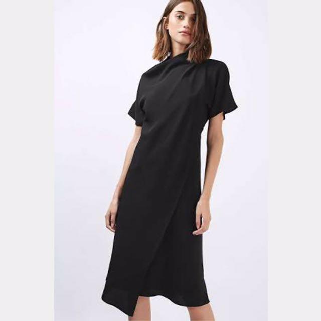 Topshop Black Origami Midi Dress - Small