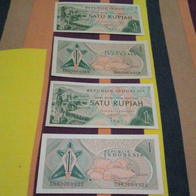 uang lama 1 rupiah thn 1961, 4pcs