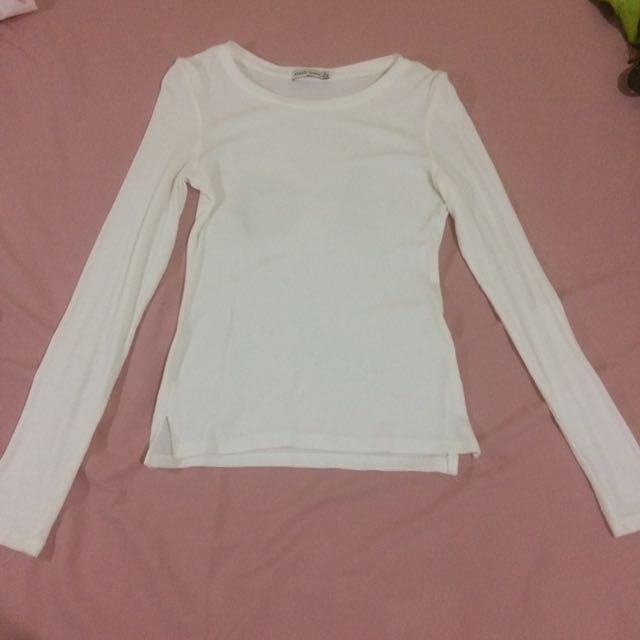 white long sleeve bershka