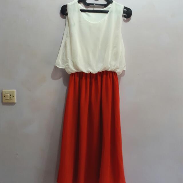 White Orange Dress