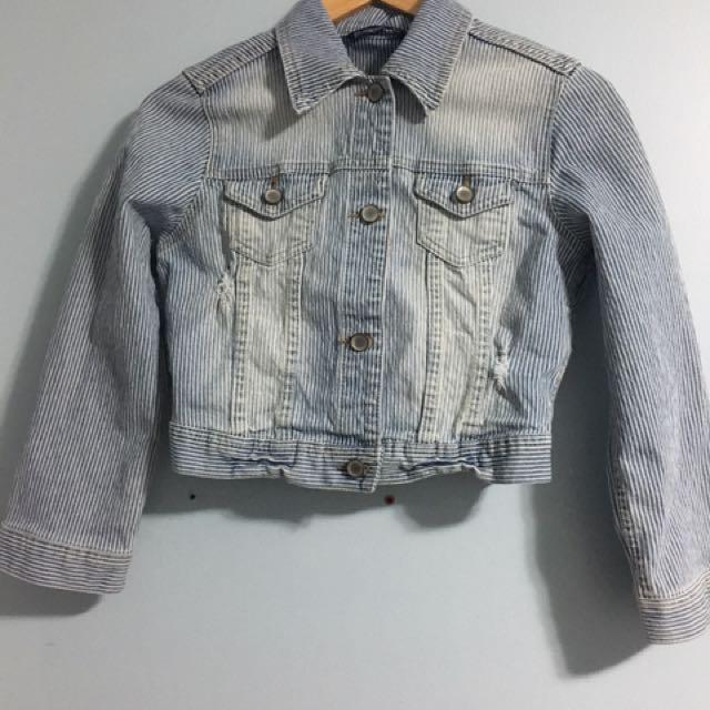 Bluenotes White Pinstriped Denim Jacket