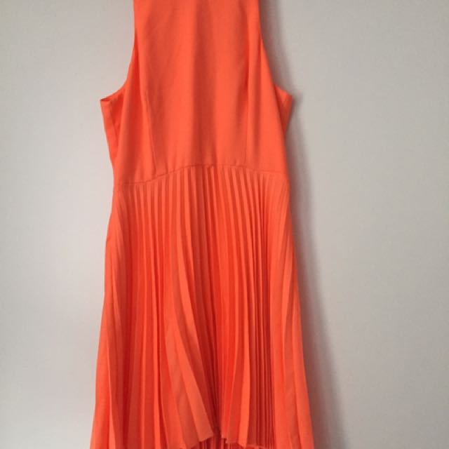 Witchery Orange Pleat Dress Size 10