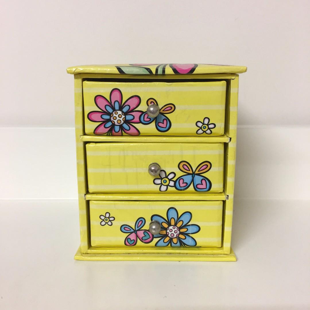 Yellow Cute Miniature 3 Drawer Box
