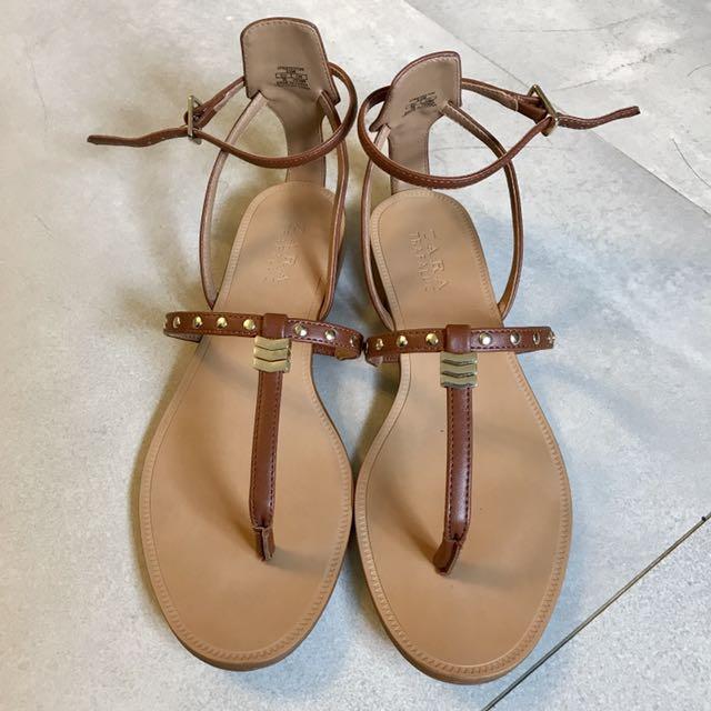 Zara studded strappy sandals slippers 涼鞋