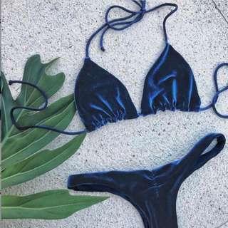 寶藍法蘭絨bikini