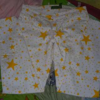 White Jeans W/ Star Printed