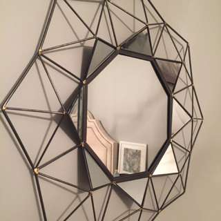 Geometric Gunmetal & Gold Mirror