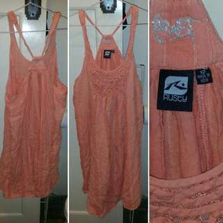 Orange Rusty Racer Back Dress Size 12 In Excellent Condition
