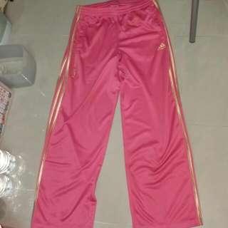 adidas 桃紅色金邊運動褲 L size