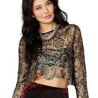 Palace Style Hollow Out Lace Blouse