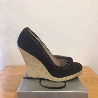 Black Wedge Heel Size 9