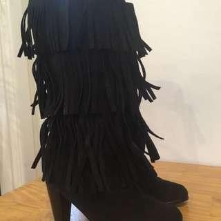 Black Calf Length Tassel Boots Size 9