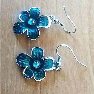 Hand Painted Emerald Green Flower Earrings