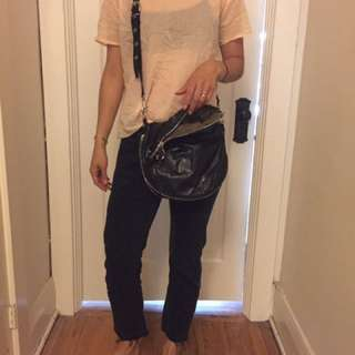 Black Leather Bag / Rainbow Zippers