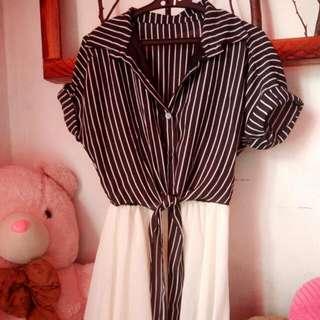 Stripe White/Black Dress
