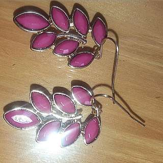 Pink Olive Leaf Style Earrings