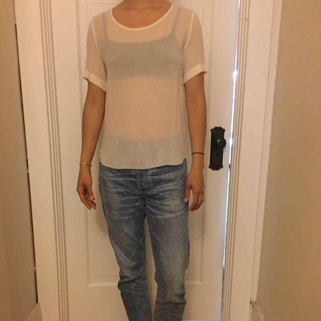 100% Silk Off-White Blouse