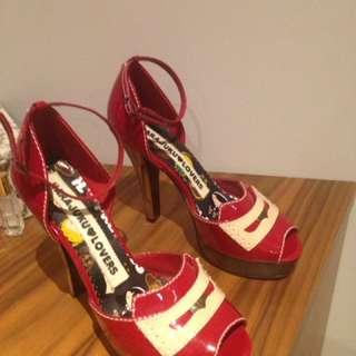Harajuku Lovers Red Patent Peep Toe Stilettos Size 8