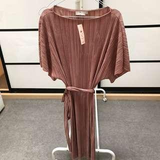 Pink Pleated Maternity Dress